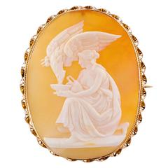 Antique Hebe and Zeus Mythological Shell Cameo Brooch
