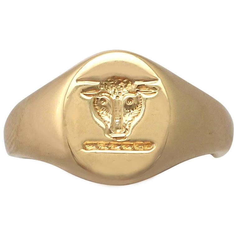 1920s 18 k Yellow Gold Signet Ring  1