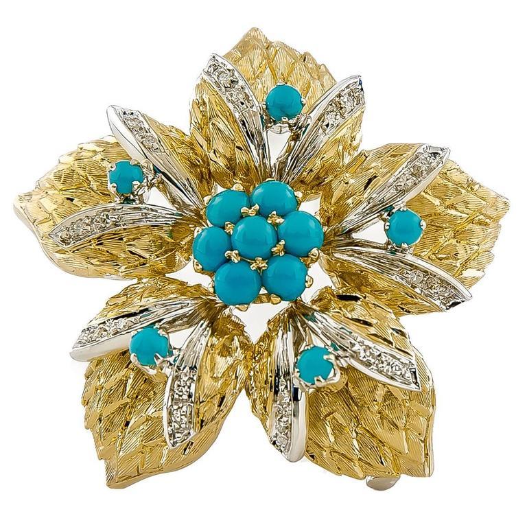 1950s Turquoise Diamond Gold Flower Brooch
