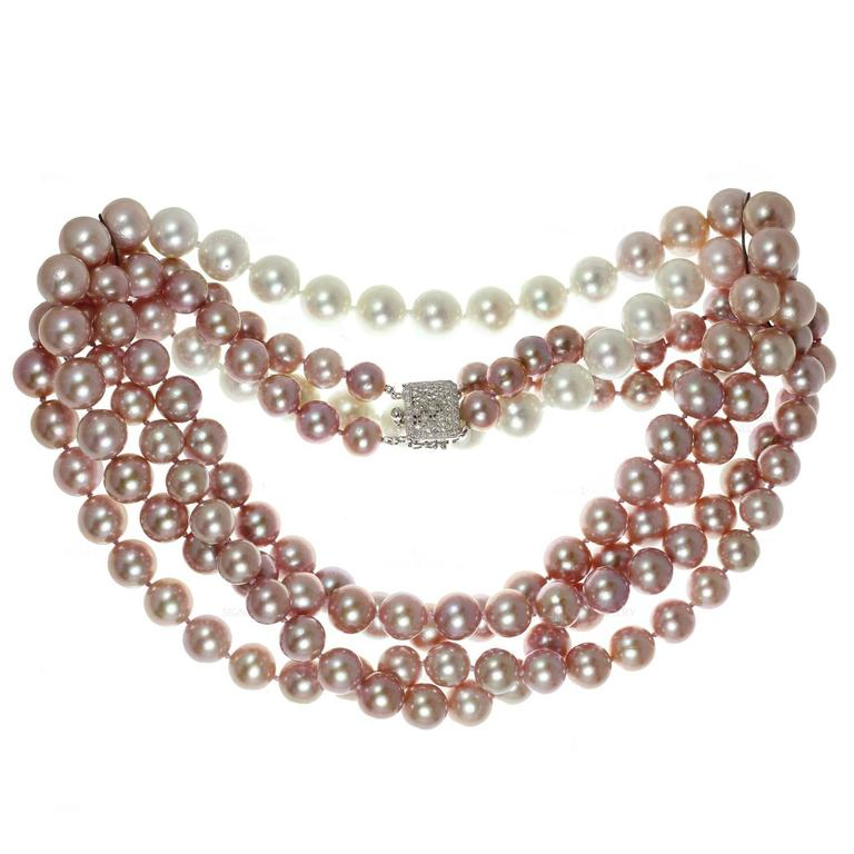 Double Opera Diamond South Sea Freshwater Pink Pearl Necklace For Sale