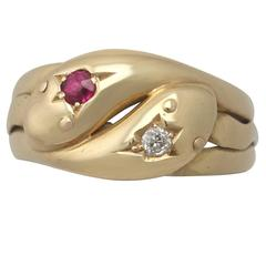 Antique 1902 Ruby and Diamond, Yellow Gold Snake Ring