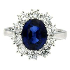 3.85 Carat Burma Sapphire Diamond Cluster Gold Ring