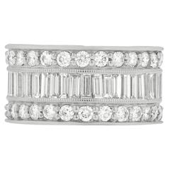 Elegant Baguette and Round Diamond Three Row Band