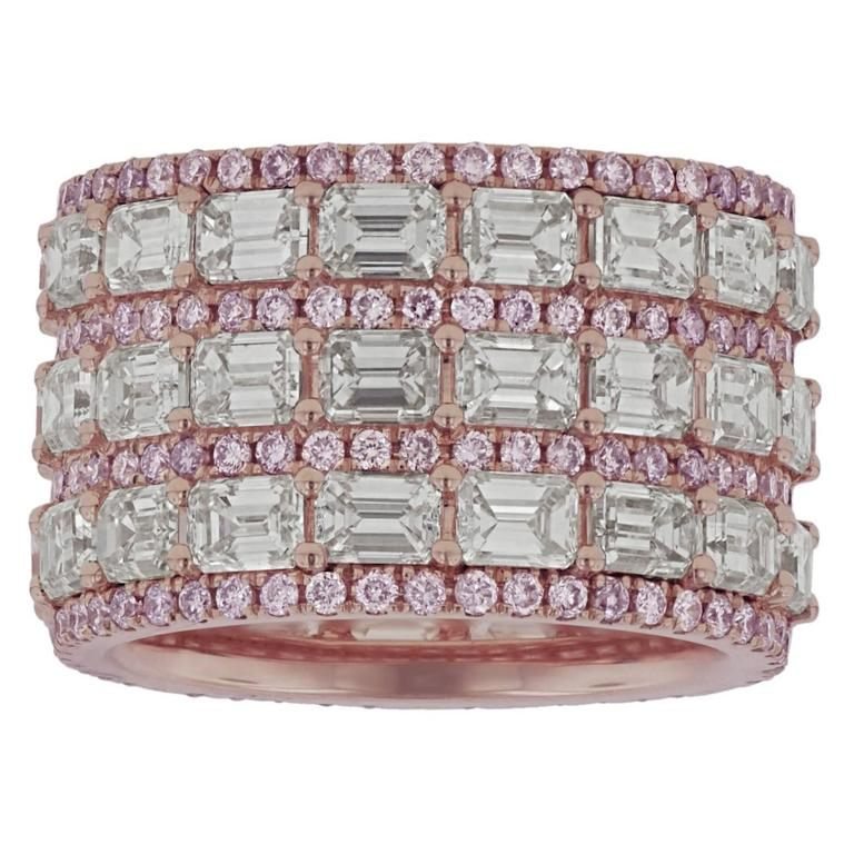 Natural Pink and White Diamond Band
