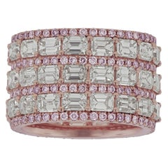 Natural Pink and White Diamond Band