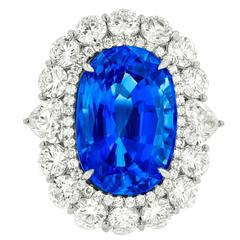 Fine Ceylon Sapphire and Diamond Ring