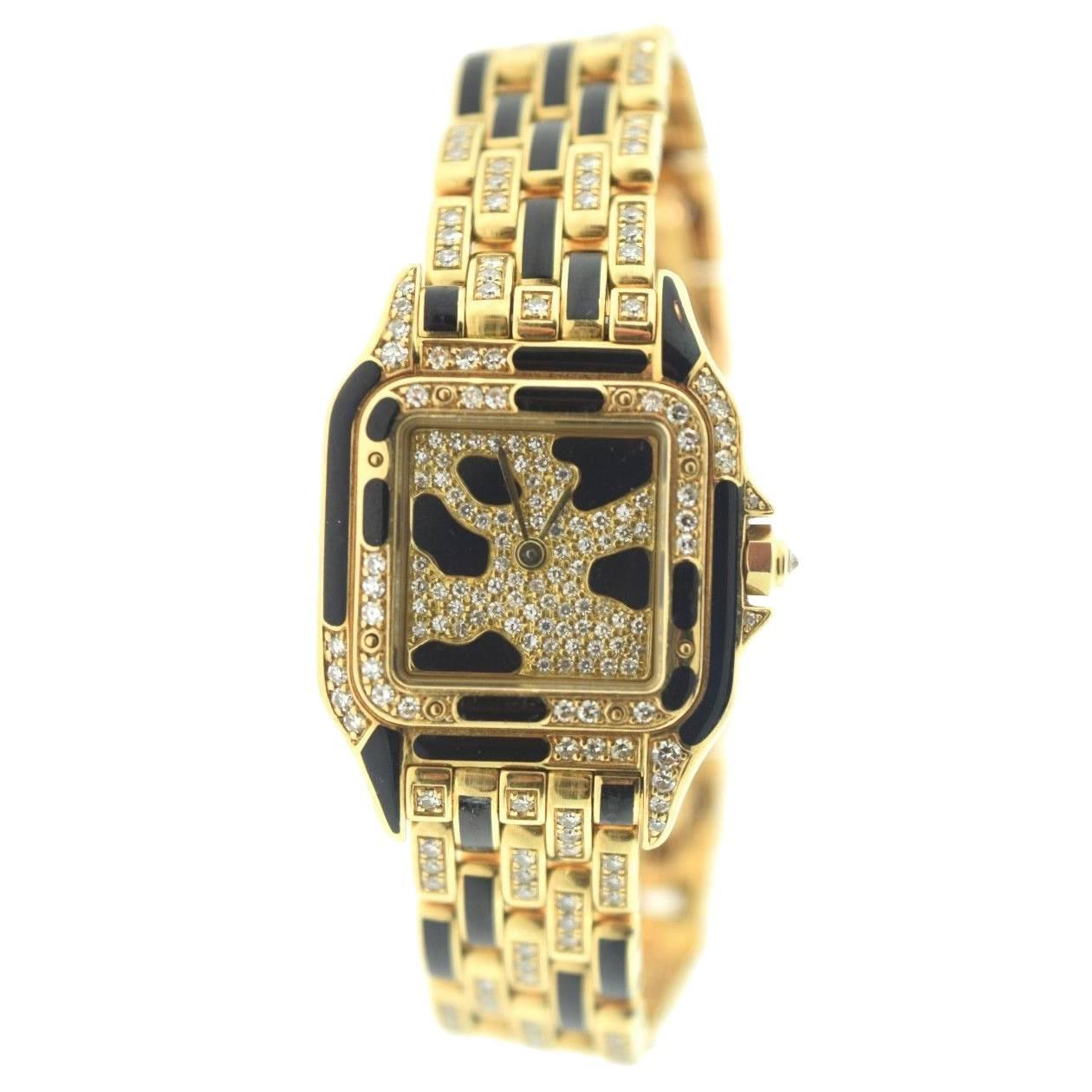 Cartier Yellow Gold with Black Enamel Diamond Panthère ...