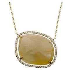 Sapphire Slice and Diamond 18 Karat Gold Necklace