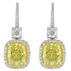8.22 Carat Canary Yellow Diamond Earrings