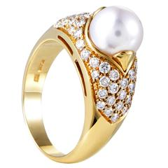bulgari yellow gold partial diamond pave pearl ring