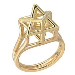 Three Dimensional Star of David Merkaba Gold Ring