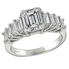 1.79 Carat GIA Certified Emerald Cut Diamond Engagement Ring