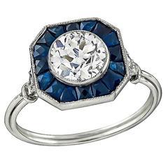 Unique 1.09 Carat Diamond Sapphire Engagement Ring
