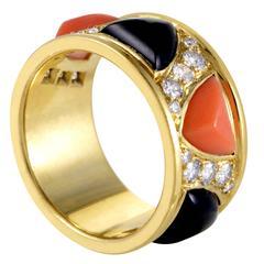 Bulgari Yellow Gold Diamond Pave Onyx and Coral Band Ring