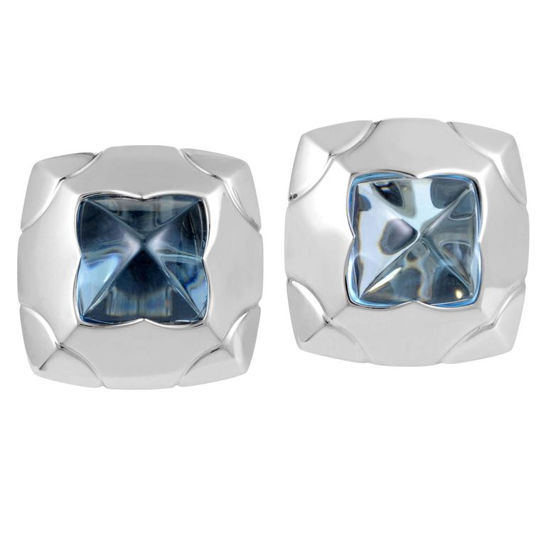 Bulgari Piramide White Gold Topaz Clip-On Earrings