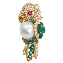 Semi-Baroque South Sea Cultured Pearl and Precious Gem Parrot Brooch