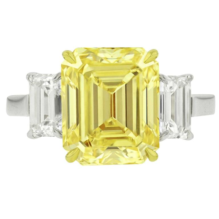 Rare 5.59 Carat Fancy Yellow VS2 Emerald Cut Diamond Ring