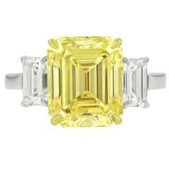Rare 5.59 Carat Fancy Yellow VS2 Emerald Cut Diamond Ring