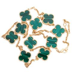 Van Cleef & Arpels Alhambra Malachite Necklace, 10 Motifs