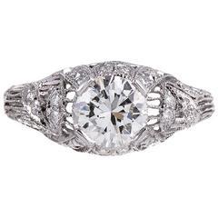 Art Nouveau Style Platinum Ring with 1.02 Carat Diamond Center