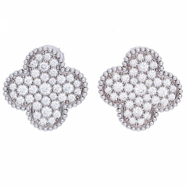 Van Cleef Arpels Magic Alhambra Large Size Diamond And White Gold Earrings For