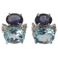 Mini GUM DROP™ Iolite Blue Topaz  Diamond Earrings