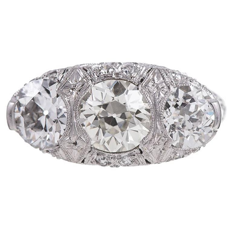 the daussi ring henri cut this image c engagement acmb three diamond stone center cushion with setting shows a