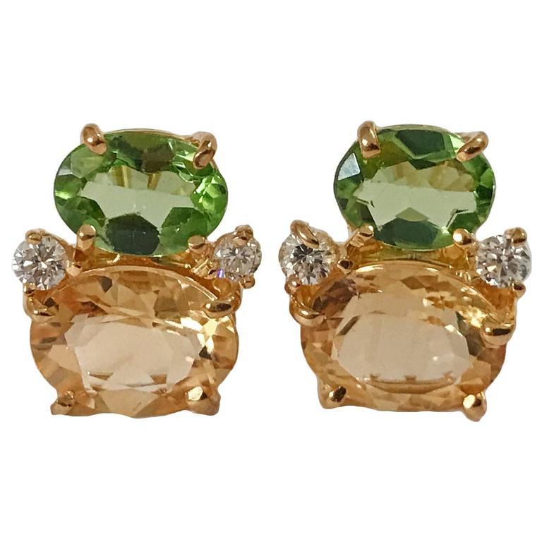 Mini GUM DROP™ Peridot Citrine Diamond Earrings