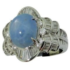 Blue Star Sapphire Diamond Platinum Ring