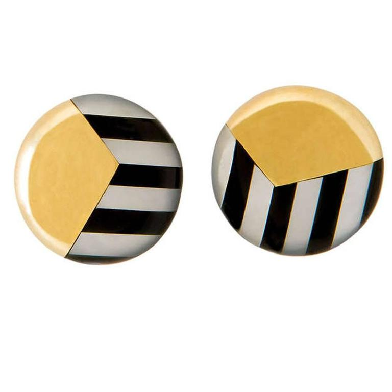 Tiffany & Co. Onyx Mother-of-Pearl Gold Earrings 1
