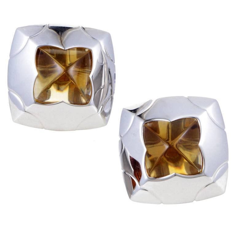 Bulgari Piramide White Gold Citrine Clip-On Earrings