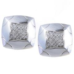 Bulgari Piramide White Gold Partial Diamond Pave Clip-On Earrings