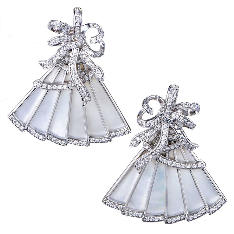 Ivanka Trump White Gold Diamond and Mother-of-Pearl Fan Earrings