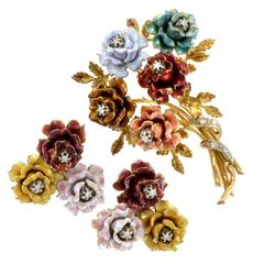 Enameled Yellow Gold and Diamond Floral Brooch and Earring Suite