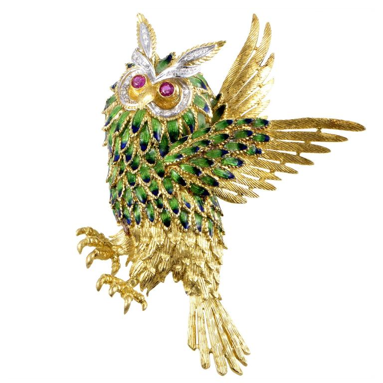 Enameled Multi-Tone Gold Diamond and Ruby Owl Brooch 1