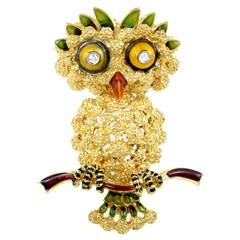 Enameled Yellow Gold Diamond Owl Pin