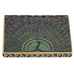 Alfred Langiois French 1930's Art Deco Gold and Enamel Cigarette Case