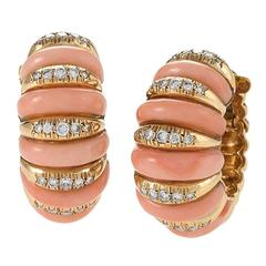Van Cleef & Arpels Mid-20th Century Coral, Diamond and Gold Earrings, Paris