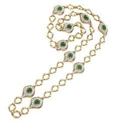 O.J.Perrin Paris 1970's Diamond, Emerald, Gold and Platinum Link Necklace