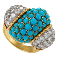 Cartier 1960's Turquoise, Diamond and Gold Cocktail/Dinner Ring