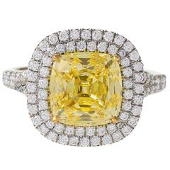 Tiffany & Co. Natural Fancy Intense Yellow Diamond and Platinum Ring