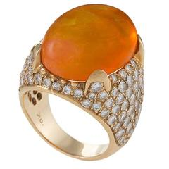 Mid-20th Century Mexican Fire Opal Diamond  Gold Ring