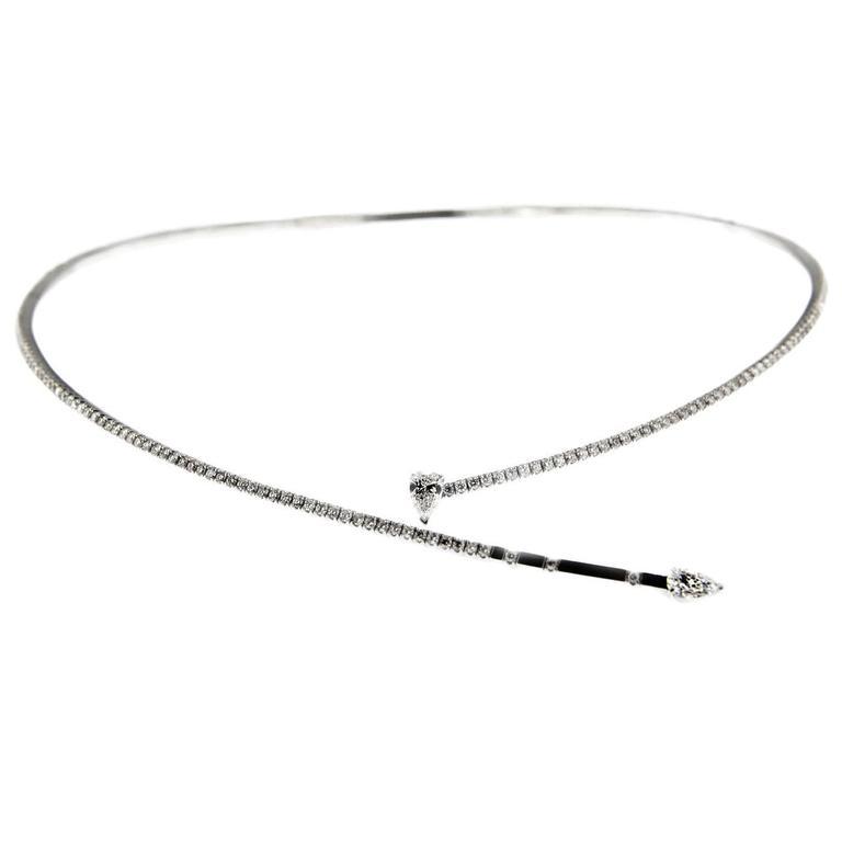 Jona White Diamond 18K White Gold Flexible Choker Necklace