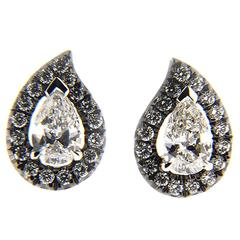 Jona White Diamond Paisley Halo Gold Stud Earrings