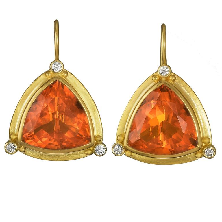 Trillion Fire Opal Earrings with white Diamonds 1