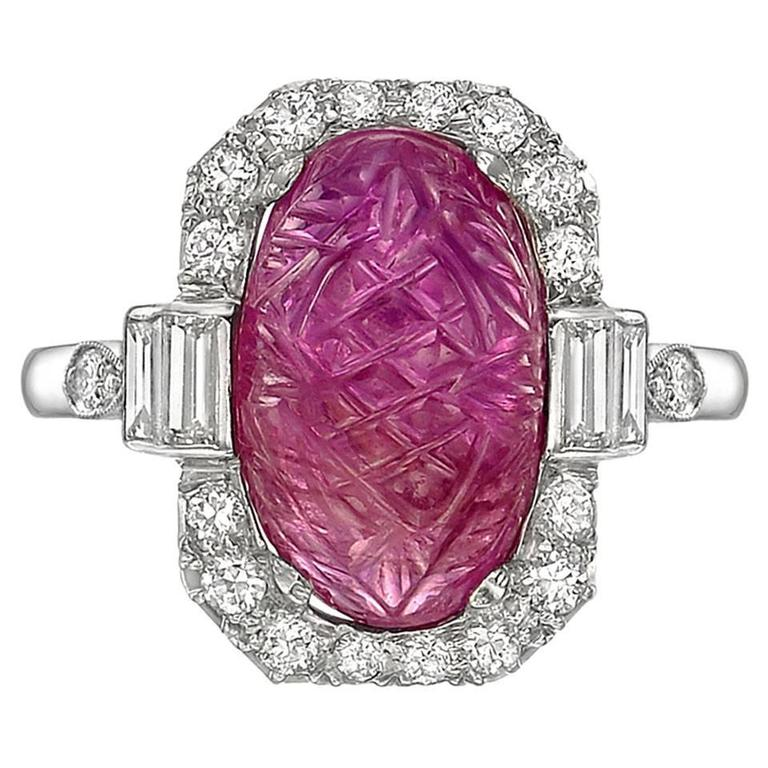 Art Deco Carved Ruby Diamond Ring 1