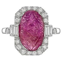 Art Deco Carved Ruby Diamond Ring