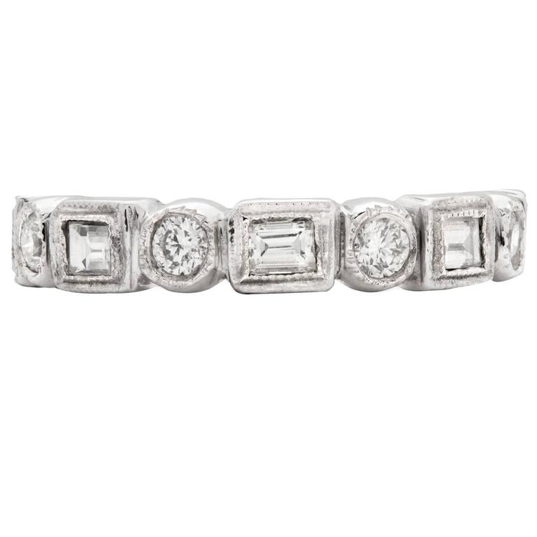 Alternating Baguette & Round Brilliant-Cut Diamond Platinum Eternity Band 1