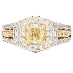 Light Yellow Cushion Cut Diamond Bicolor Halo Ring