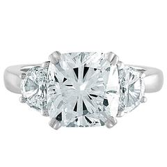 4.05 Carat Cushion Cut Diamond Certificate Set in a Ring